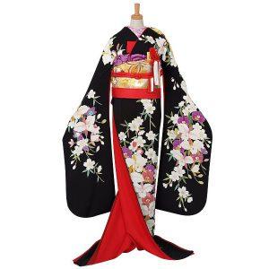 引振袖【W006】黒 桜に胡蝶蘭