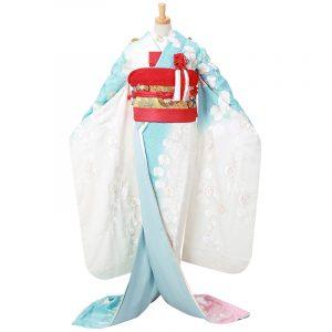 引振袖【4】白水色 胡蝶蘭