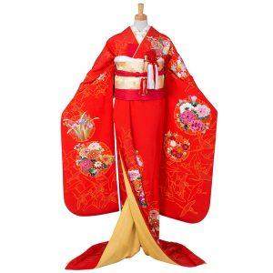 引振袖【5】赤 花に雪輪と鶴