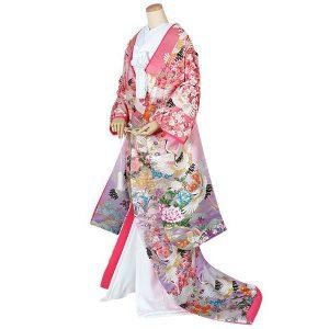 色打掛【U014】ピンク紫 飛鶴草花