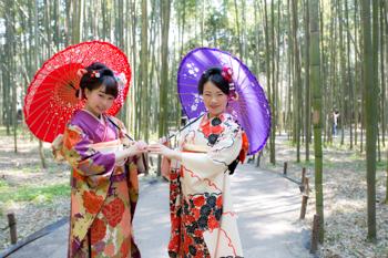 「京都着物レンタル夢館 フォトスタジオ」成人式前撮りロケーション 嵐山コース